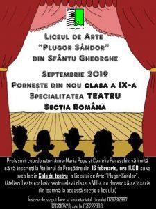 Clasa a IX-a, teatru, secția română, în planul pentru anul școlar viitor. Atelier de pregătire pentru tinerii interesați