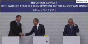 Concluziile summitului UE de la Sibiu | Iohannis: Ne-am dorit şi am reuşit să avem un summit al unităţii/ Avem politicieni care nu îşi doresc stat de drept/ Tusk, mesaj rostit în limba română: M-am îndrăgostit de Sibiu