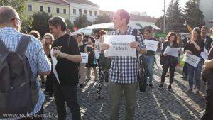 Cluj: Circa 300 de persoane participante la o adunare de solidaritate interetnică româno-maghiară, după incidentele din Valea Uzului