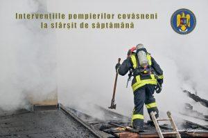 """Sfârșit de săptămână """" de foc"""" pentru pompierii covăsneni"""