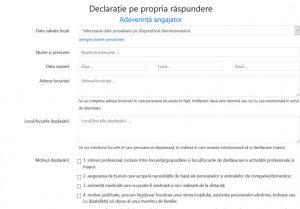 Platforma electronică formular.sts.ro pentru completarea online a declarațiilor pe proprie răspundere și a adeverințelor de angajator