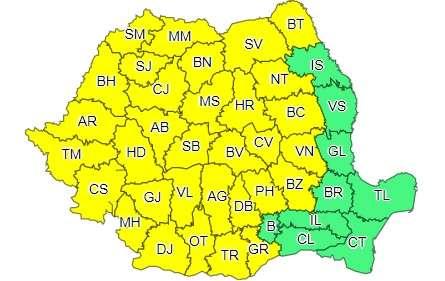 Cod galben de furtuni în 32 de judeţe, până joi dimineaţa; informare de vreme instabilă în rest, în următoarele 3 zile
