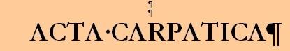 Anuarul nr XXII/2019 - ACTA CARPATICA VI/2019