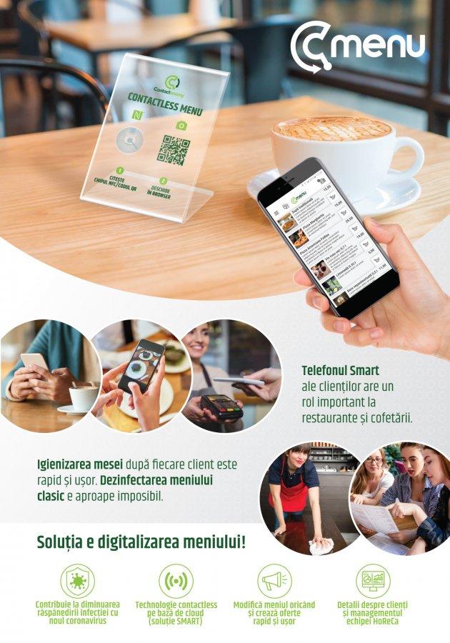 Noutate în domeniul ospitalier: o soluție SMART, contactless, în loc de meniuri tradiționale pe suport de hârtie