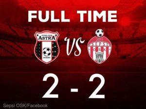 Fotbal - Liga I: Astra Giurgiu - Sepsi OSK Sfântu Gheorghe 2-2