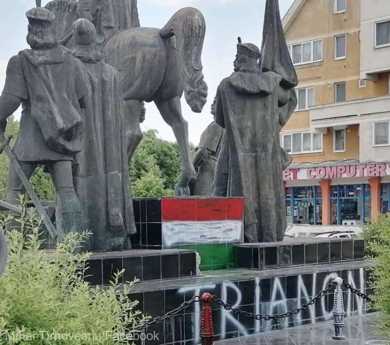 Grupul statuar Mihai Viteazul din Sfântu Gheorghe, profanat de persoane necunoscute