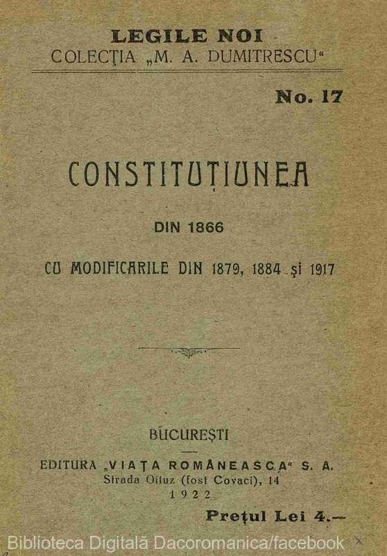 Anul 1866 în istoria României: Promulgarea noii Constituţii a României