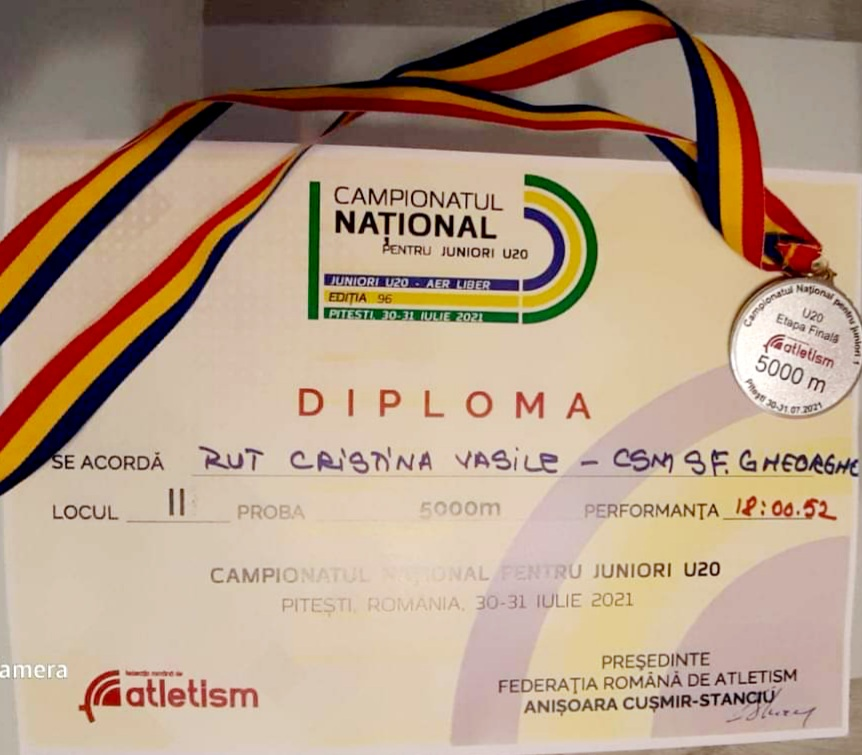 Medalie de argint obținută de atleta Rut Cristina Vasile, la Campionatul Național pentru juniori U20