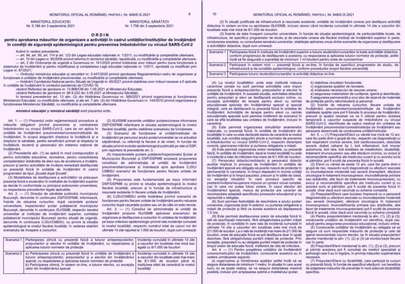 Regulile pentru deschiderea școlilor au fost publicate în Monitorul Oficial cu o săptămână înaintea primei zile de cursuri