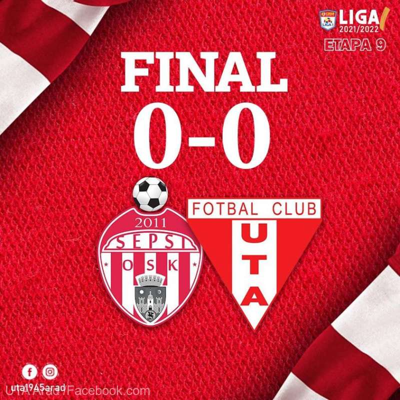 Fotbal - Liga I: Sepsi OSK Sfântu Gheorghe - UTA Arad 0-0